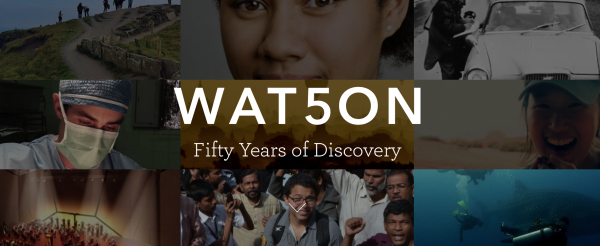 banner composed of numerous photos of Watson Fellows engaged in activities like snorkeling and interviewing, faded, with white text spelling WAT50N superimposed on top