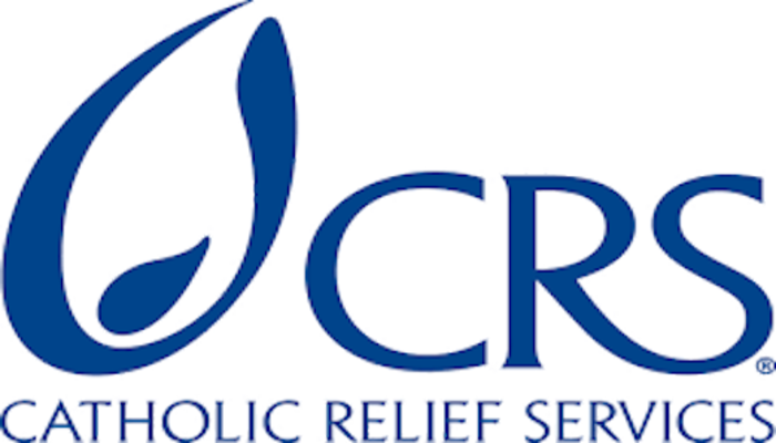 Catholic Relief Services Logo with CRS on the top, full name on the bottom, spelled out in dark blue