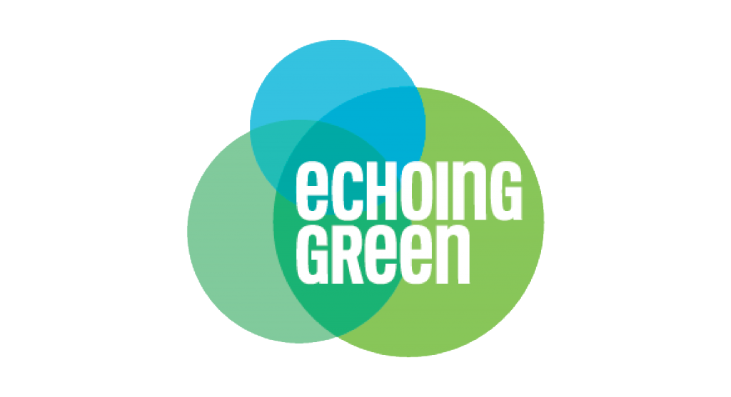 Echoing Green Logo, three circles in varying shades of green with white text