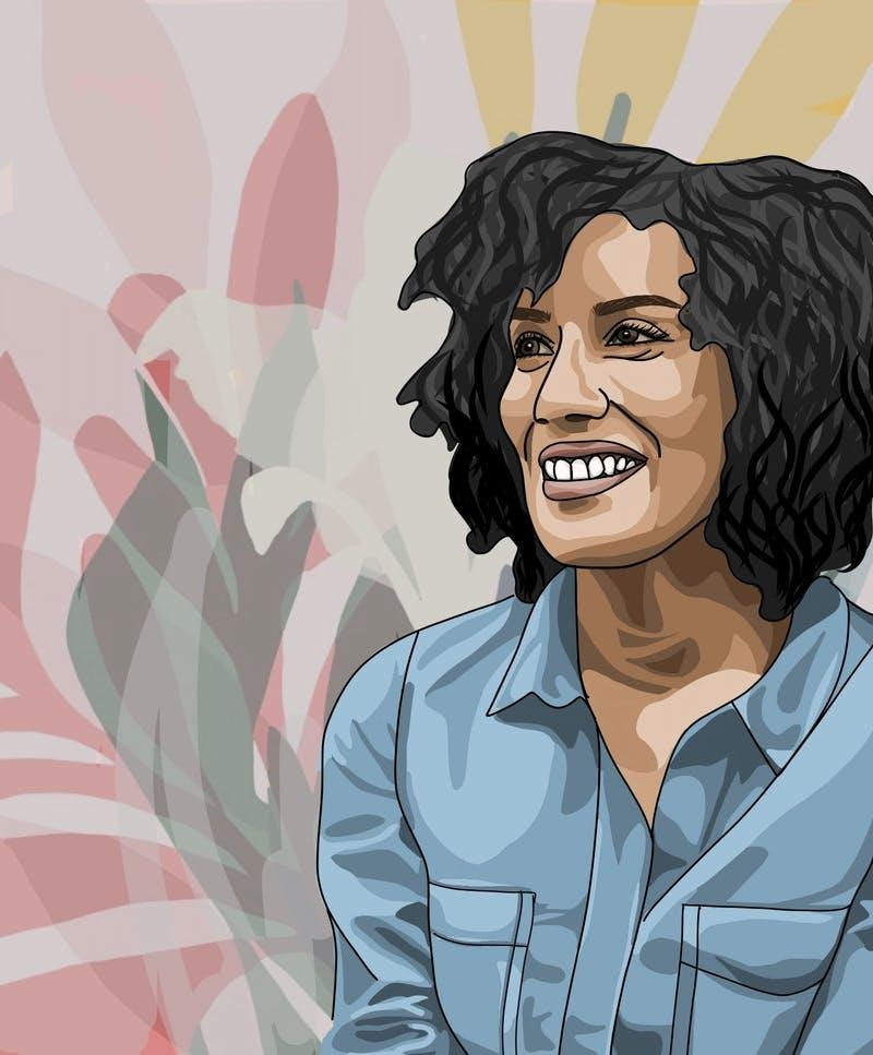 illustration of Watson Fellow and Poet Aracelis GIrmay wearing light blue denim shirt, with giant pink, green, and yellow flowers in the background