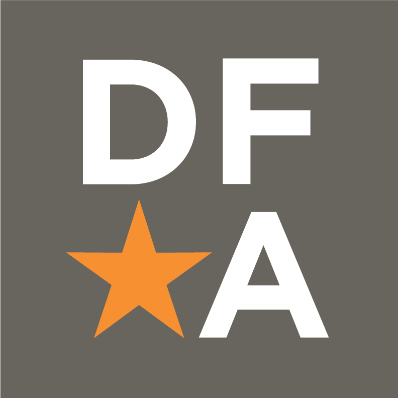 white letters on grey background spell out DFA with an orange star in the bottom left