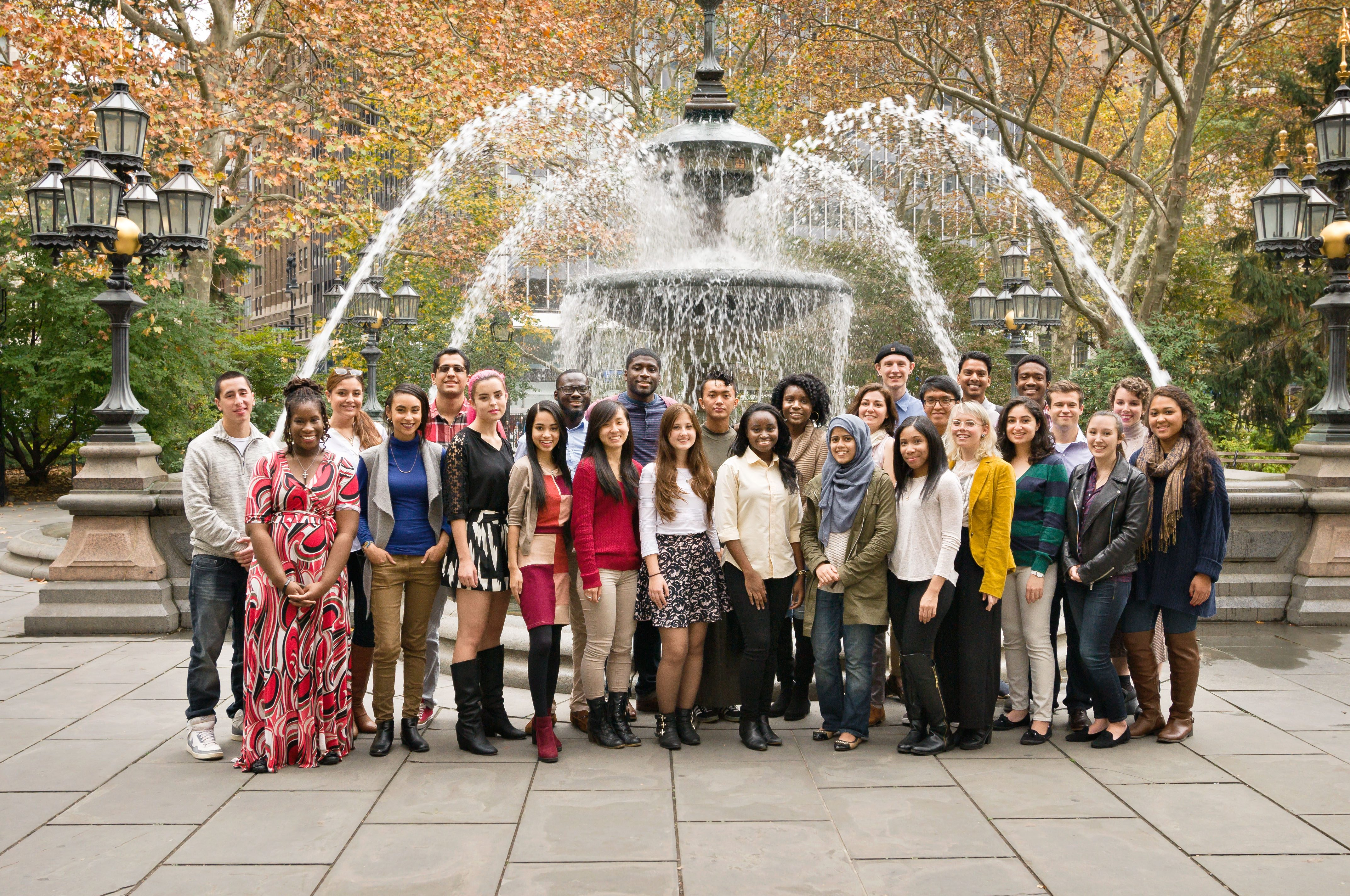 photo of Watson Fellows in front of a fountain